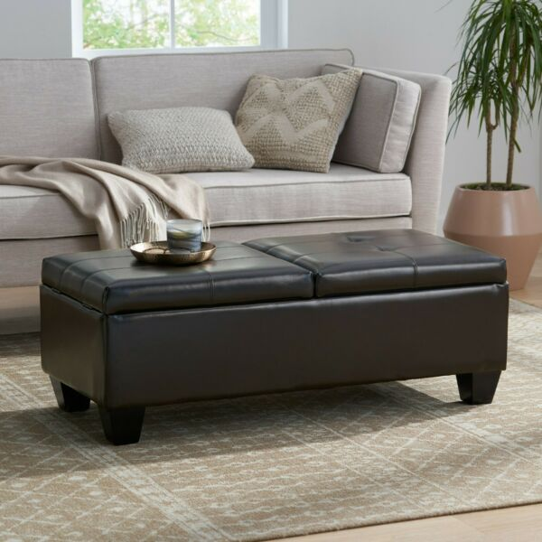 Murray Rectangle Double Flip Leather Storage Ottoman Coffee Table