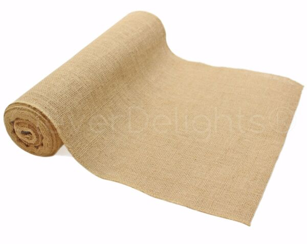 14quot; Premium Burlap Roll 10 Yards Finished Edges Natural Jute Burlap Fabric