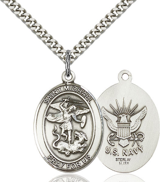 925 Sterling Silver St Michael Navy Military Soldier Catholic Medal Necklace $68.50
