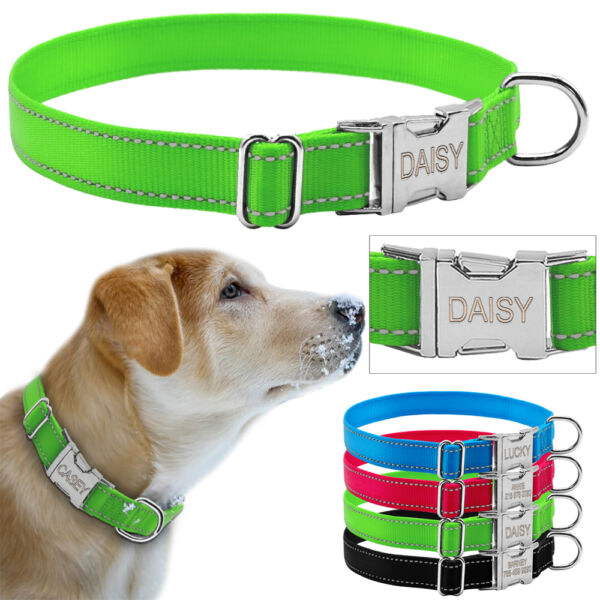 Reflective Nylon Personalized Dog Collars Custom Pet Tag Collars 4 Colors S M L $8.99