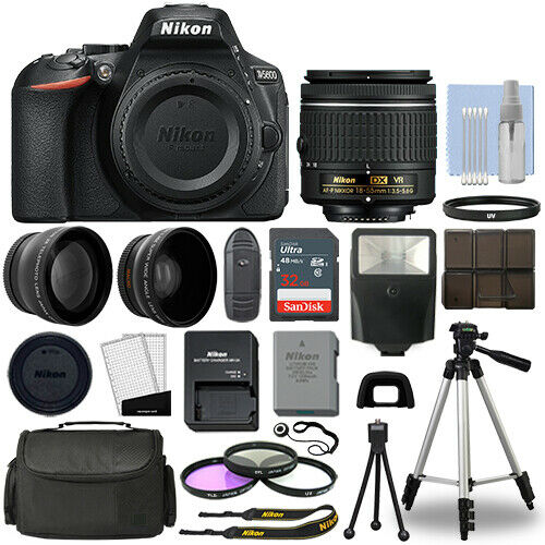 Nikon D5600 Digital SLR Camera Black + 3 Lens: 18-55mm VR Lens + 32GB Bundle
