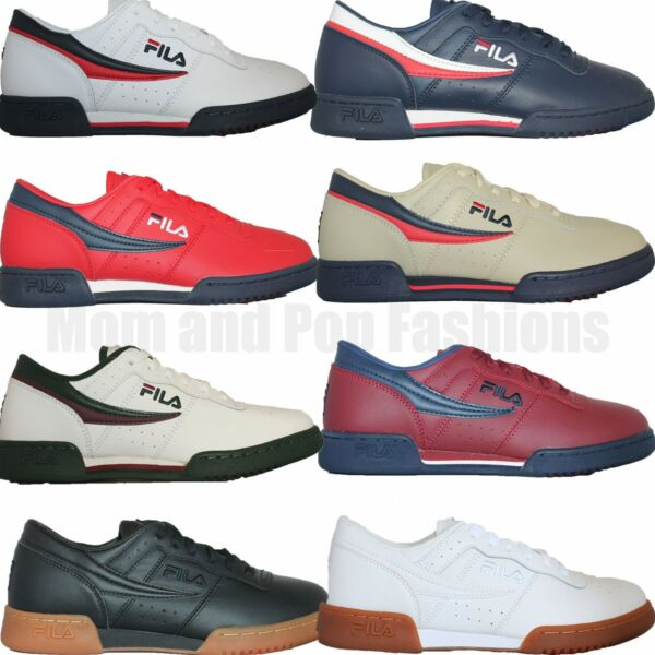 Mens Fila Original Fitness Classic Retro Casual Athletic Shoes White Navy Red