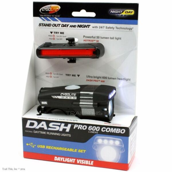 Cygolite Dash Pro 600 HotRod 50 Combo USB Rechargeable Front Rear Bike Lights $68.95