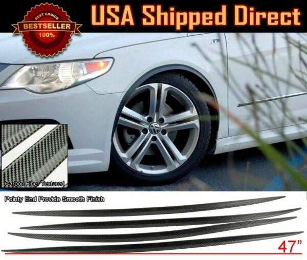 2 Pairs Flexible Slim Fender Flare Extension 3D Carbon Protector Guard For BMW $33.98