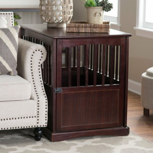 Large Dog End Table Pet Puppy Crate Wooden Cage Wood Box House Espresso Black