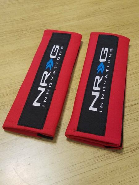 2X UNIVERSAL RED NRG SEAT BELT HARNESS SHOULDER PADS COVER PAIR CAR TRUCK SUV
