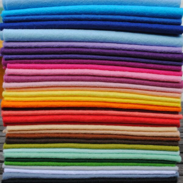 Wool Mix 12 inch Felt Square x 35 Rainbow Stash Booster!