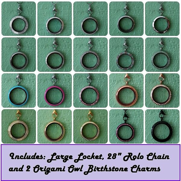 Large Round Floating Locket Rolo Chain w2 Free Origami Owl Crystal Charms
