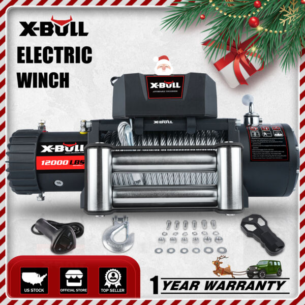 X-BULL Electric Winch 12V 12000LBS IP67 Jeep Steel Cable Truck Off Road 4WD