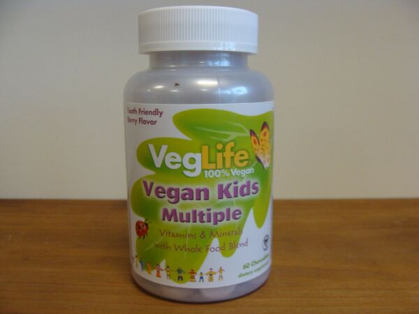 VegLife Vegan Kids Multiple Vitamin Berry Flavor Whole Food Blend 60 Chewables