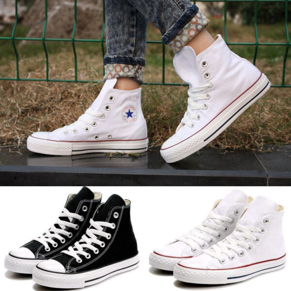 Women Lady ALL STARs Chuck Taylor Ox High-top shoes Canvas Sneakers white/Black