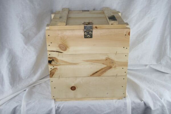 US Military Wooden Ammo Crate Box Unfinished Metal Hinges Lock  Flick Packaging