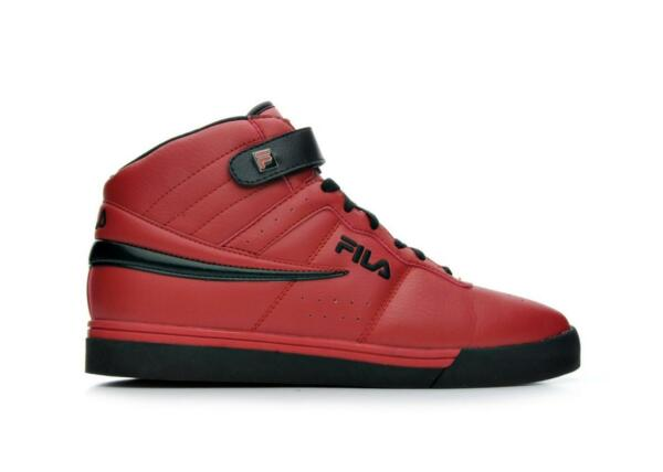 NEW 2017 MEN'S FILA VULC 13 MID PLUS RED BLACK CLASSIC HIGH TOP SNEAKERS