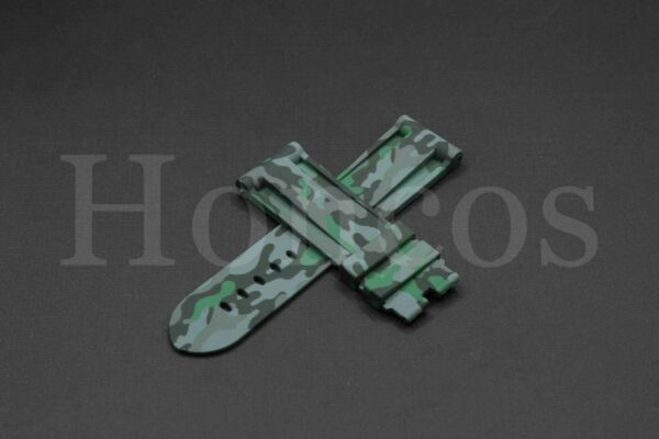 24MM Camouflage Green Rubber Strap Band Replacement fits for Panerai Submersible