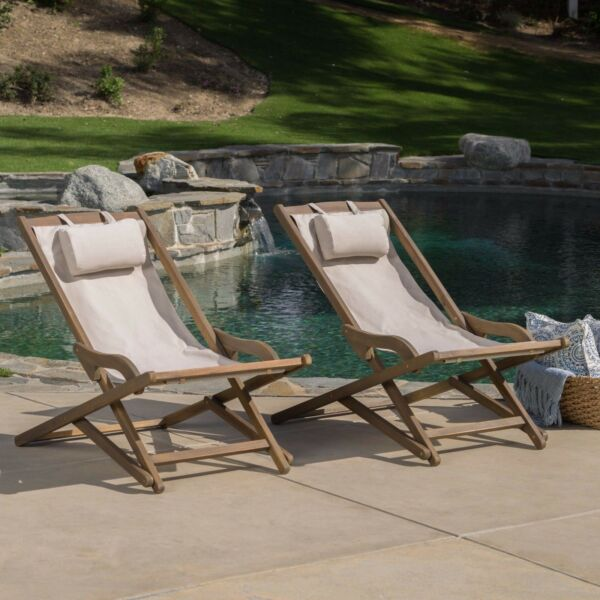 Northland Outdoor Wood and Canvas Sling Chair Set of 2 $161.69
