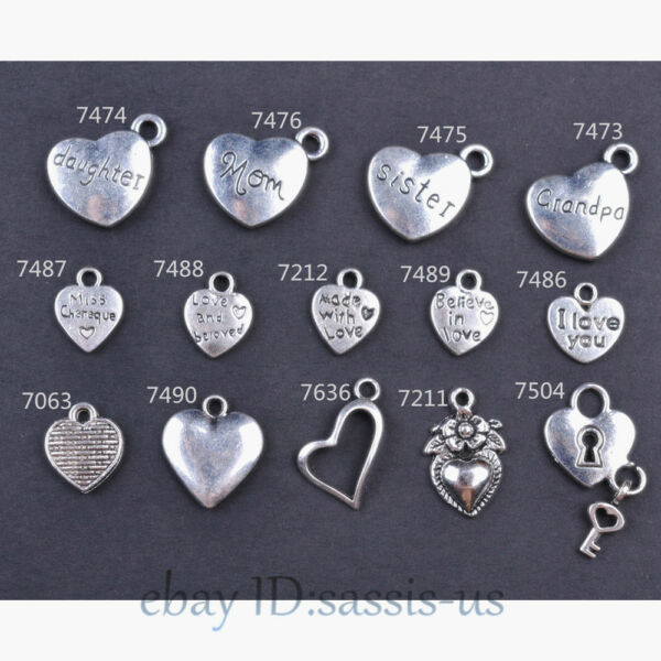 10/50/100 Pieces 14 Style Heart Charms made With Love Tibetan Silver DIY Jewelry