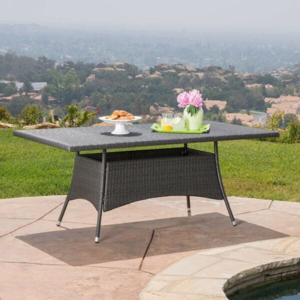 Manteo Modern Outdoor Rectangular Gray Wicker Dining Table $256.64