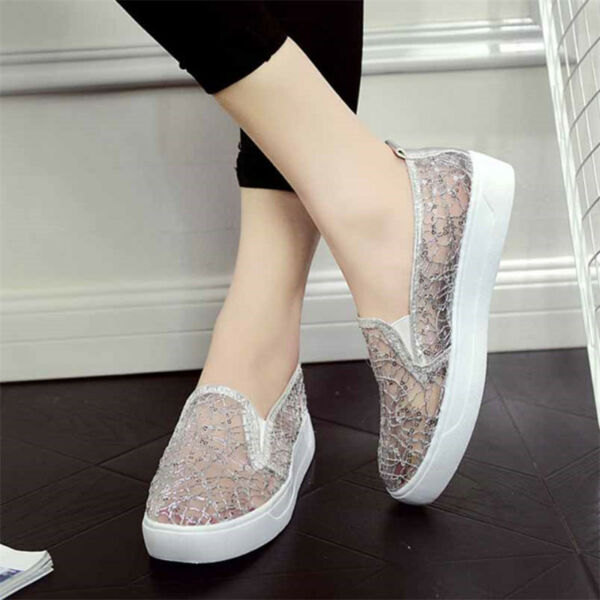 Women casual Lady Sneakers Shoes Lace Platform Loafers Slip On Breathable Comfy
