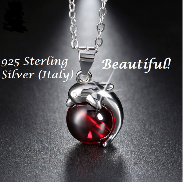 Womens 925 Sterling Silver Red (Agate) Dolphin Pendant Necklace Jewelry Gift Box