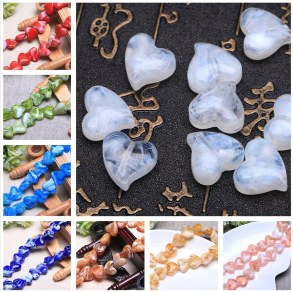 DIY 16mm Lampwork Glass Loose Heart Shape Charms Spacer Jewelry Making Beads Hot