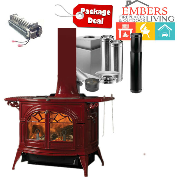 Vermont Castings Wood Stove Defiant Cast Iron Free Standing RED PACKAGE PIPE