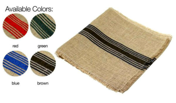 12.5quot; X 108quot; Burlap Jute Table Runner with Stripes Choose Color