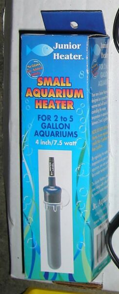 JUNIOR HEATER Small Aquarium Heater 2 to 5 gallon aquarium 4 inch 7.5 watt NOS