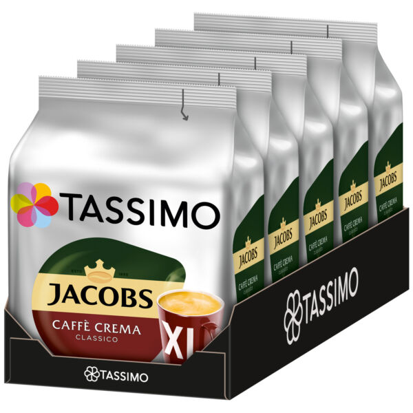 TASSIMO Jacobs Cafe Crema CLASSICO XL coffee pods  k-cups -5 PACK-