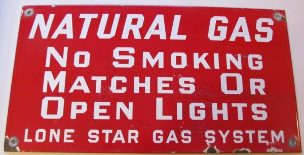 Lone Star Gas System 1950#x27;s PORCELAIN SIGN NICE QUALITY $249.99