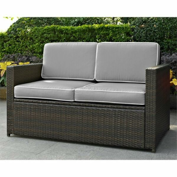 Crosley Palm Harbor Wicker Patio Loveseat in Brown and Gray $371.95