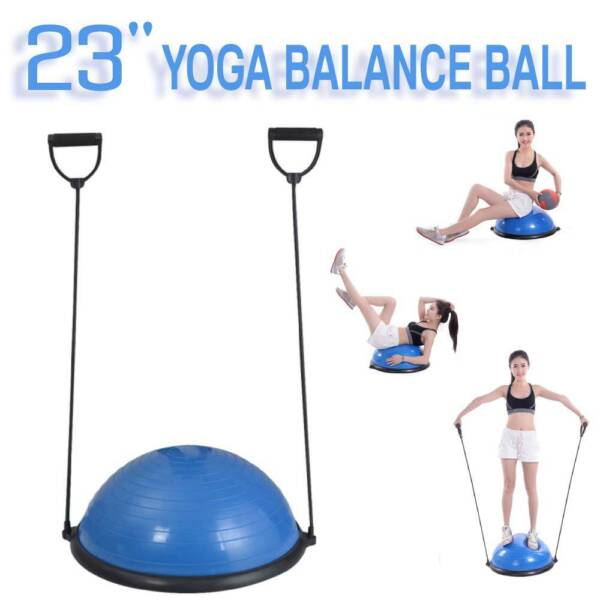 23quot; Yoga Half Ball Exercise Trainer Fitness Balance Strength Gym w Pump $45.79