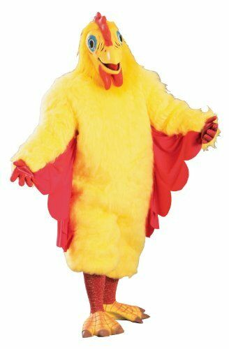 Chicken Mascot Costume 8 Pc Yellow Faux Fur Suit Mask Socks Rubber Gloves