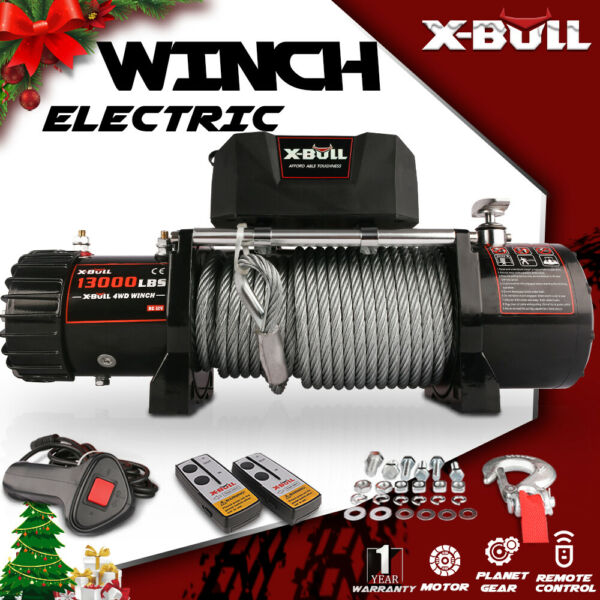 X-BULL Electric Winch 12V 13000LBS IP67 Steel Cable Truck SUV Off Road 4WD