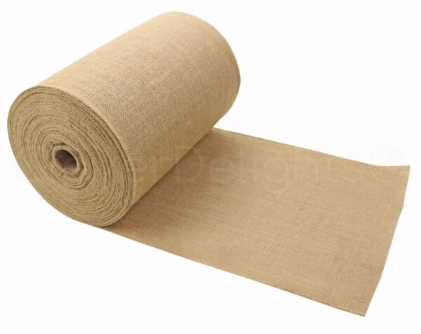 12quot; Premium Burlap Roll 50 Yards Finished Edges Natural Jute Burlap Fabric