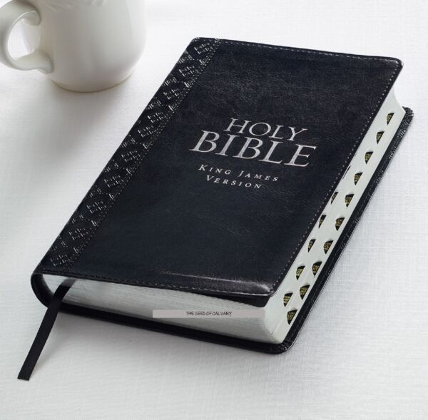 KING JAMES VERSION HOLY BIBLE KJV Red Letter Thumb Index Black Faux Leather!