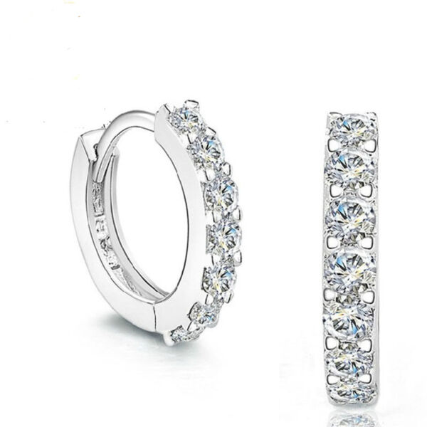 Elegant Fshion Jewelry 925 Silver Plated Zirconia Hoop Earrings Luxury For Woman $5.99