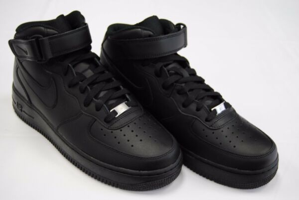 [315123 001] NEW MEN'S NIKE AIR FORCE 1 MID '07 ALL BLACK / BLACK BL1