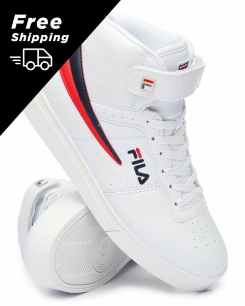 NEW 2017 MEN'S FILA VULC 13 MID PLUS WHITE RED BLUE CLASSIC HIGH TOP SNEAKERS
