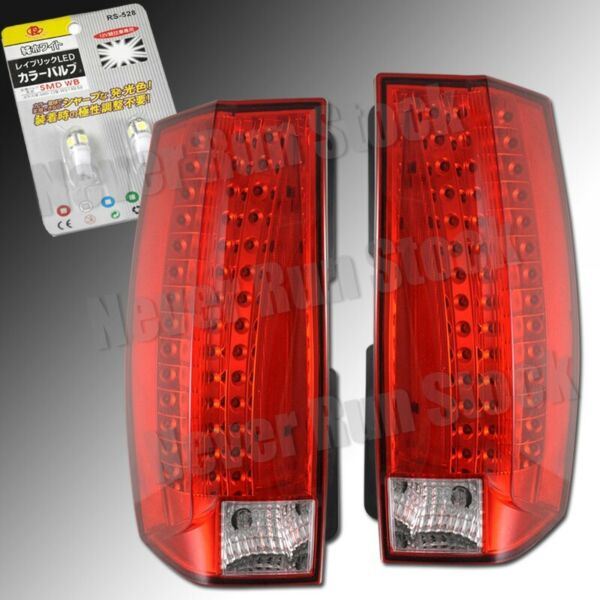 SUBURBAN TAHOE ESCALADE LOOK RED LED TAIL LIGHTS +WHITE LED LICENSE PLATE BULBS