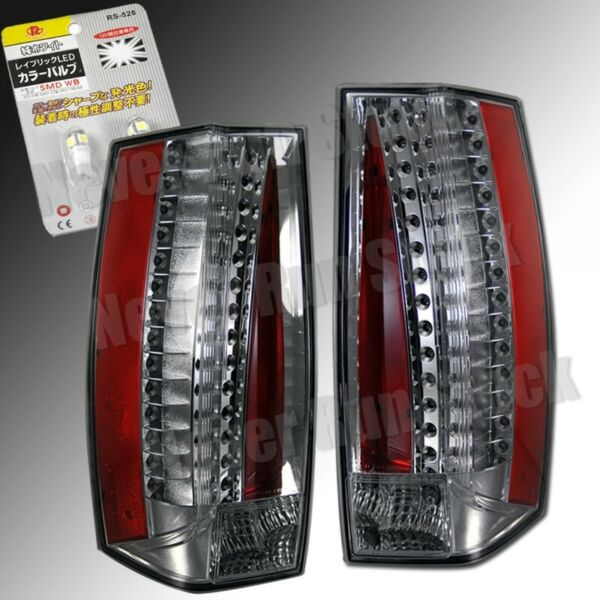CADILLAC ESCALADE CLEAR LENS RED LED TAIL LIGHTS + WHITE LED LICENSE PLATE BULBS