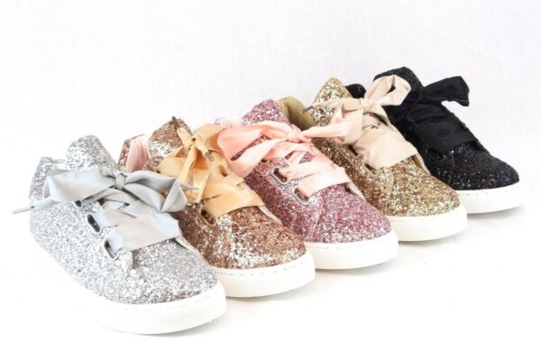 Women Sequin Glitter Sneakers Tennis Lace Up Comfort Walking Cute Party Shoes