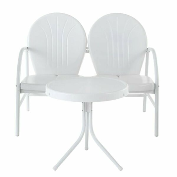 Crosley Griffith 2 Piece Metal Patio Loveseat Set in White $183.98