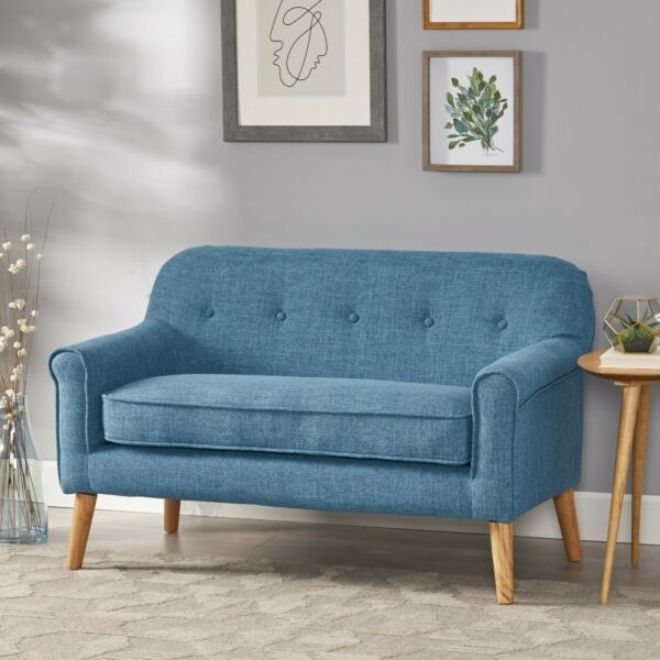Mia Mid Century Modern Button Tufted Fabric Upholstered Loveseat w Tapered Legs