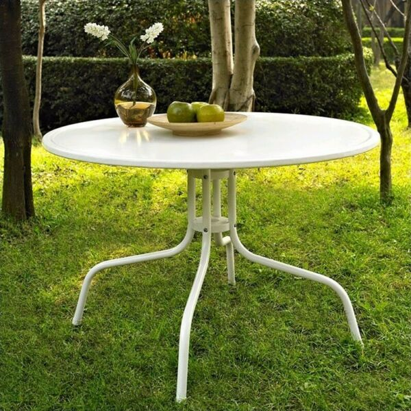 Crosley Griffith Metal 39quot; Round Patio Dining Table in White $167.99