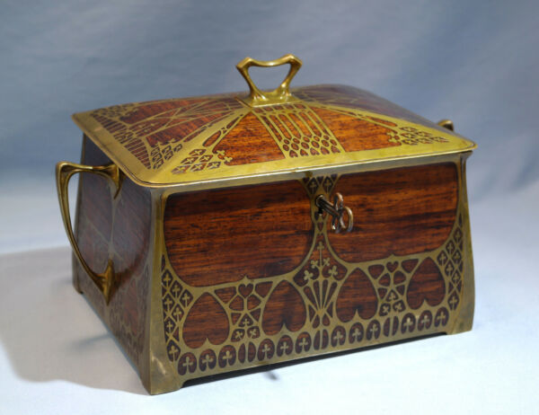 Arts & Crafts Brass & RosewoodBurlwood Inlay Lock Box Erhard & Sohne C. 1900