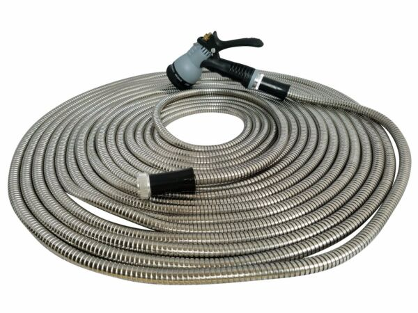 Metal Garden Hose 50' ft  Stainless Steel With Free 8 Pattern Sprinkler New