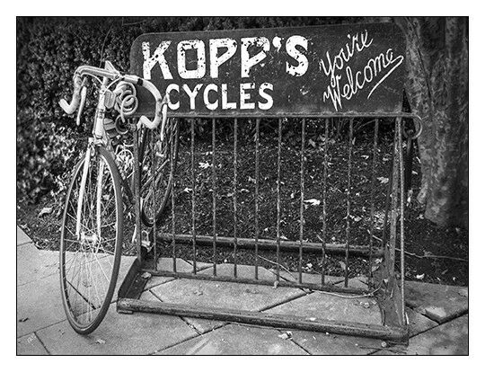 Bike At Kopp#x27;s Cycles Shop In Princeton Black And White 12quot;x16quot; Art Print $86.00