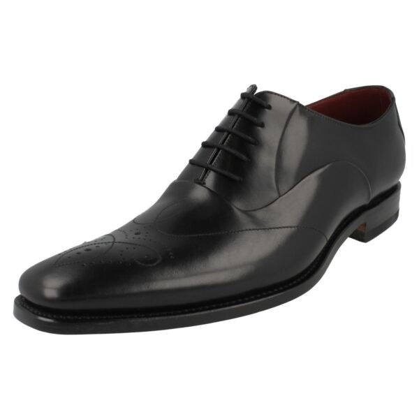 Mens Gunny F fitting black leather lace up shoe by Loake