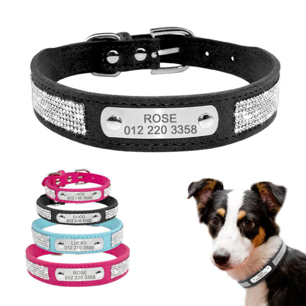Rhinestone Dog Personalized Collar Small Medium Dog Pet Name Tag Custom Engrave $8.99