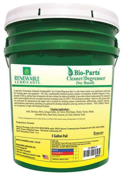 RENEWABLE LUBRICANTS 86634 5 gal. Parts Cleaner and Degreaser Pail